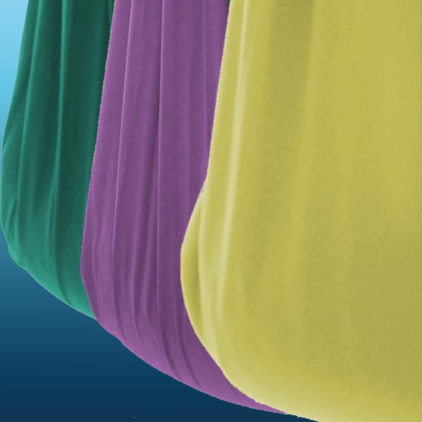 Smaragdgroen, paars en geel Aerial Yoga doek